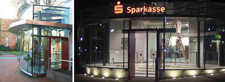 Links: Ansicht barrierefreier Eingang mit Automatiktür I Rechts: Nächtliche Ansicht Fassade