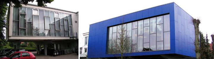 Links: Fassade vor Beginn der Maßnahme I Rechts: Fassade nach dem Umbau