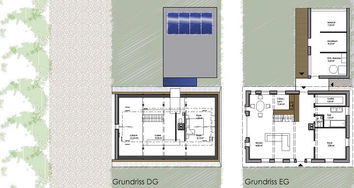 Grundriss Dach- und Erdgeschoss (Planung)