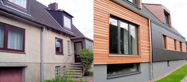 Fassade am Übergang zum Anbau vor der Maßnahme und nach dem Umbau