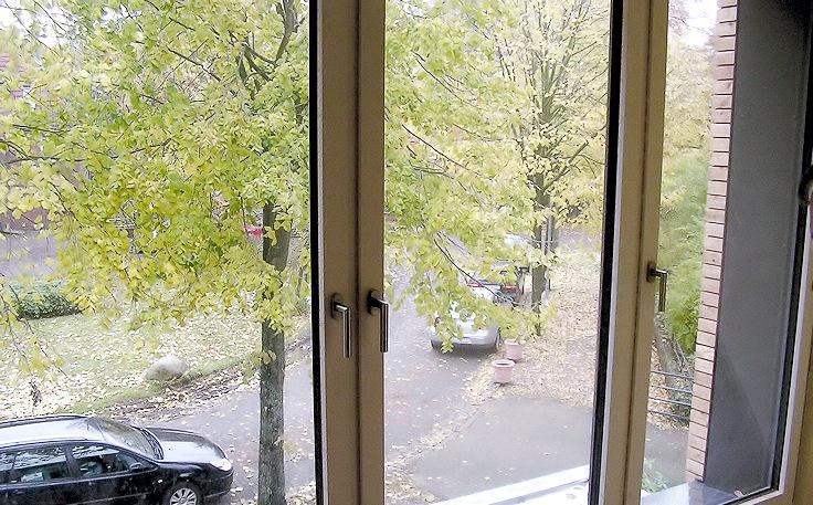 Blick durch die neue Glasfassade aus dem Treppenhaus im OG