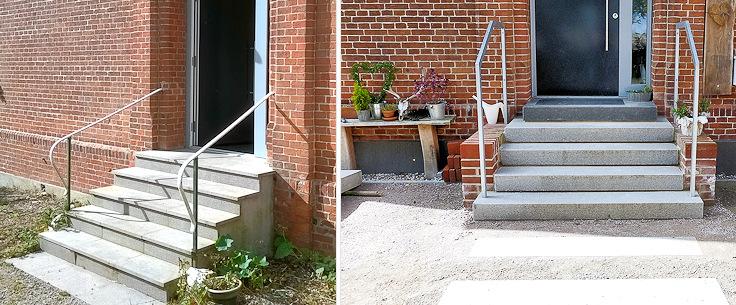 Eingangstreppe vor der Maßnahme und nach dem Umbau